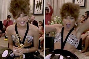Zendaya holding her Emmy looking elated
