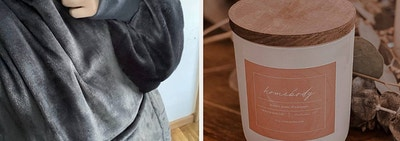 left image: sherpa hoodie, right image: homebody candle