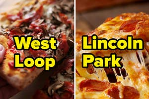 """""""West Loop"""" written over mushroom pizza and """"Lincoln Park"""" written over pepperoni pizza"""