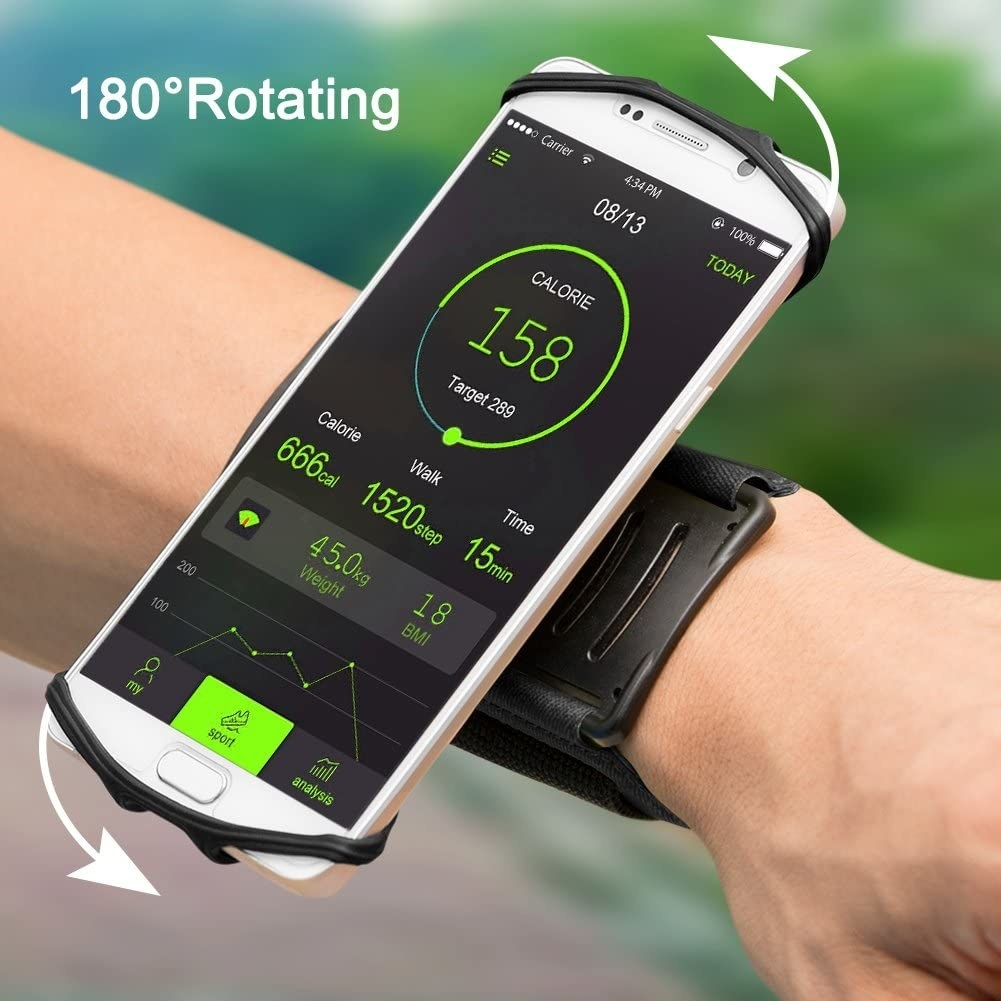 Model wearing a wrist strap with a holder for their phone that rotates 180 degrees on their wrist