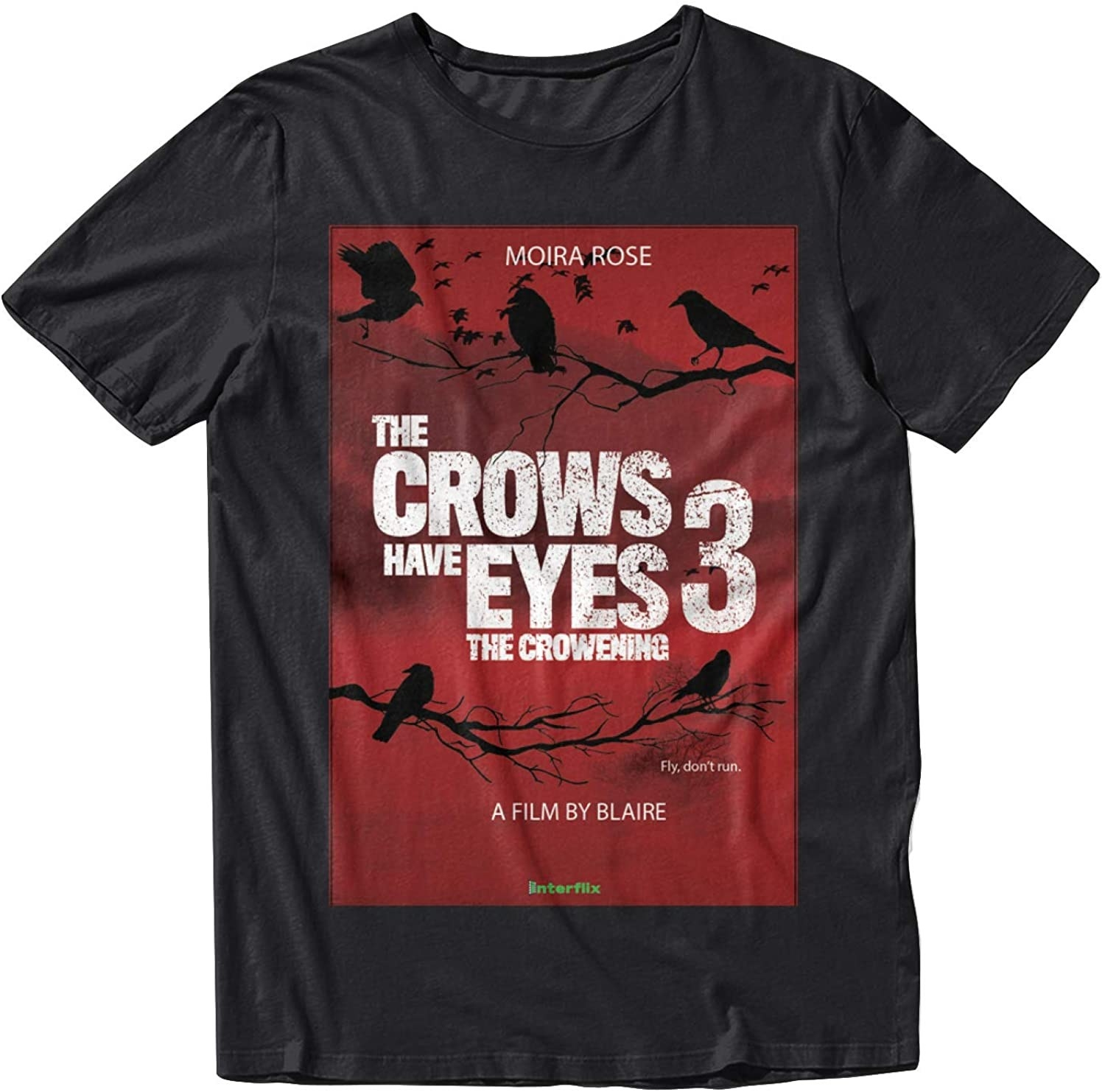 The black and red short sleeve tee with a poster for the movie featuring crows, an Interflix logo, and Moira Rose's name