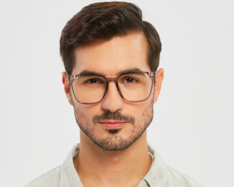 model wearing oversized gray frames