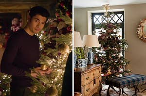 """On the left, Henry Golding standing around various Christmas trees as Tom in """"last Christmas,"""" and on the right, a cozy living room with a Christmas tree near the back door"""