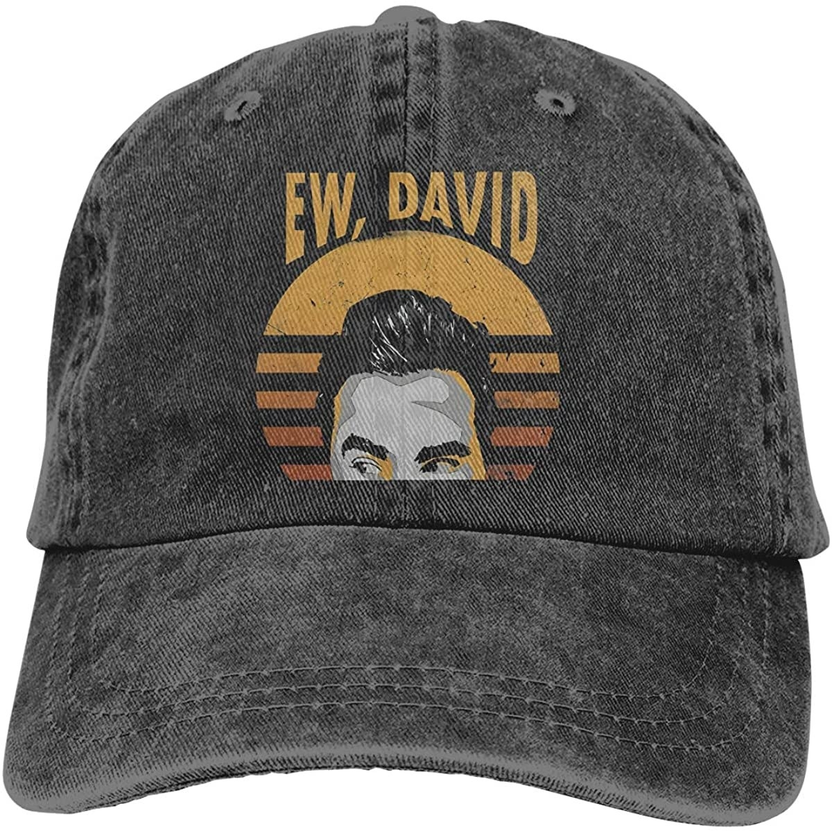 "A faded black hat with a black, white, and orange design showing David giving side eye and the text ""Ew, David"""