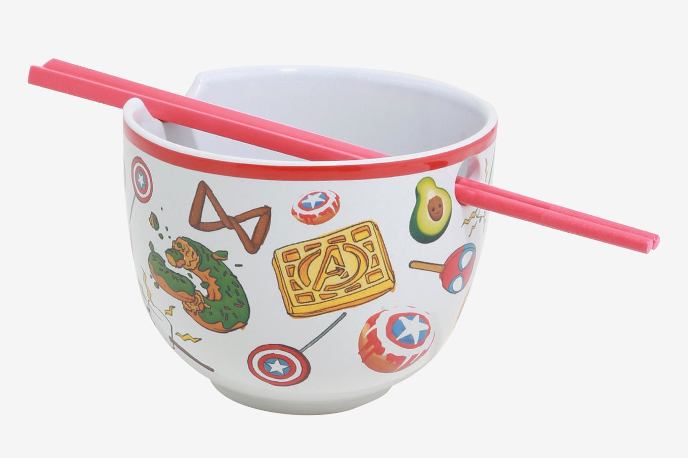 a bowl with Marvel characters on it with a set of chopsticks going through a hole in the top of the bowl