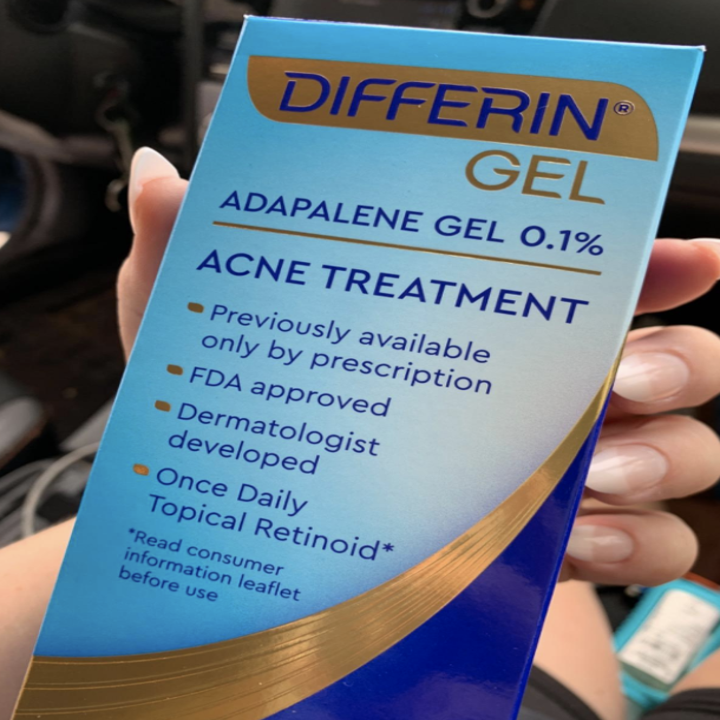 Reviewer photo of Differin Gel in hand