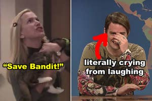 """Side-by-side of Angela with her cat during the fire drill scene of """"The Office,"""" and Bill Hader cracking up as Stefon on """"SNL"""""""