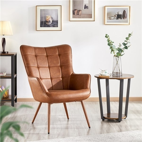 The brown leather chair in a decorated room