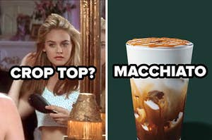 crop top label over cher from clueless and a macchiato