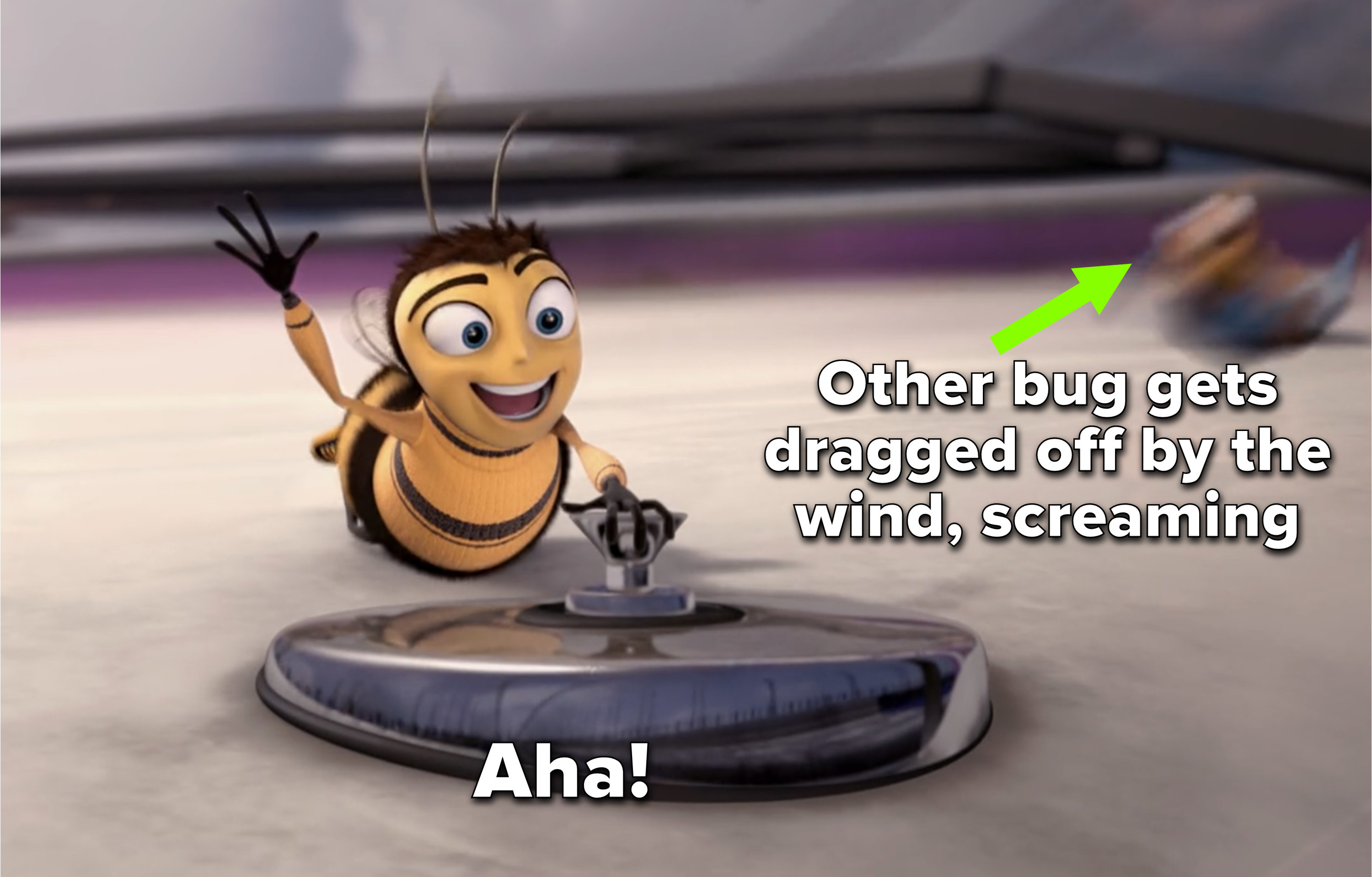 """Barry yells """"aha!"""" as another bug gets dragged off the car, screaming"""
