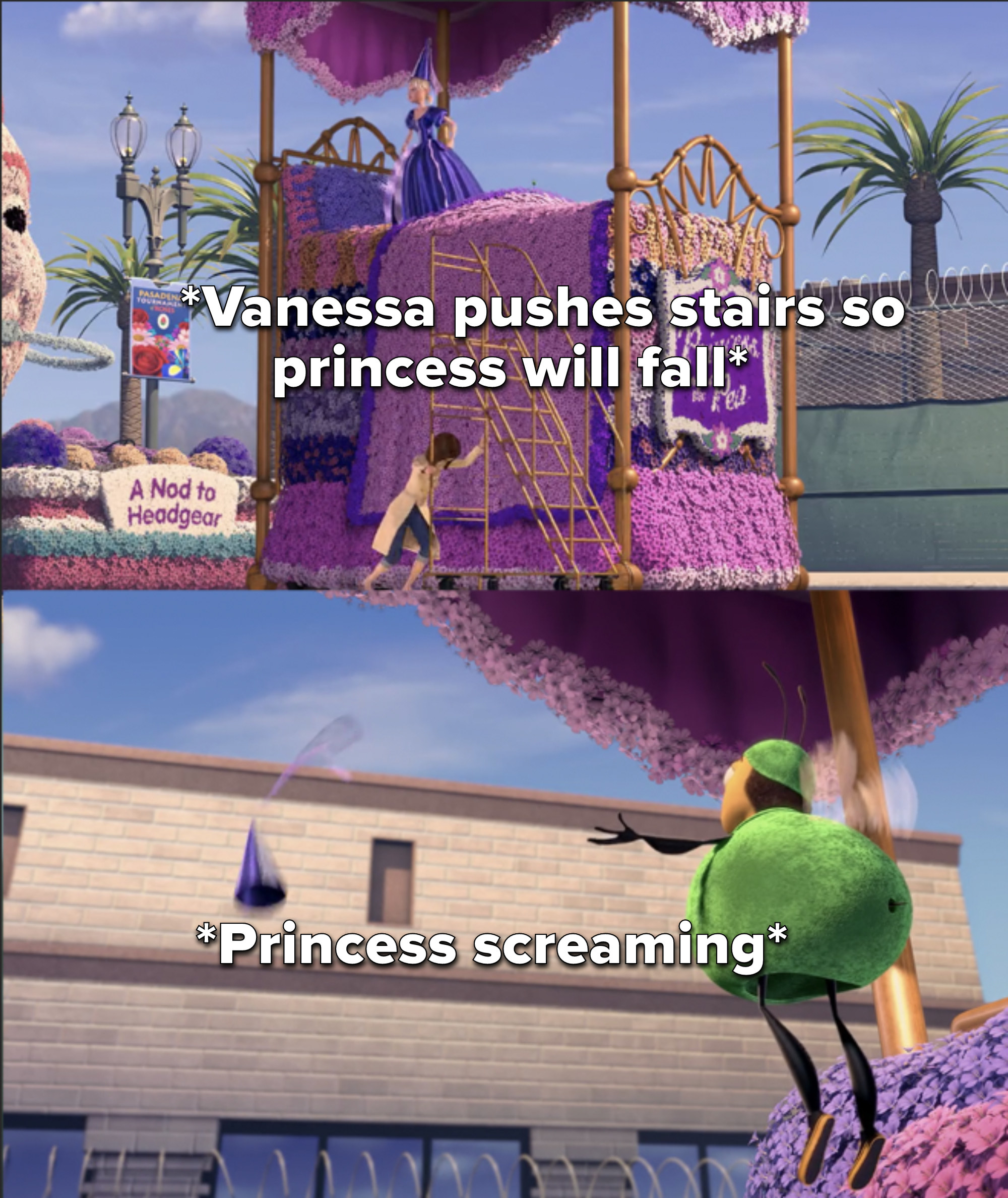 Vanessa pushes a ladder away from a float and the girl dressed as a princess falls and screams