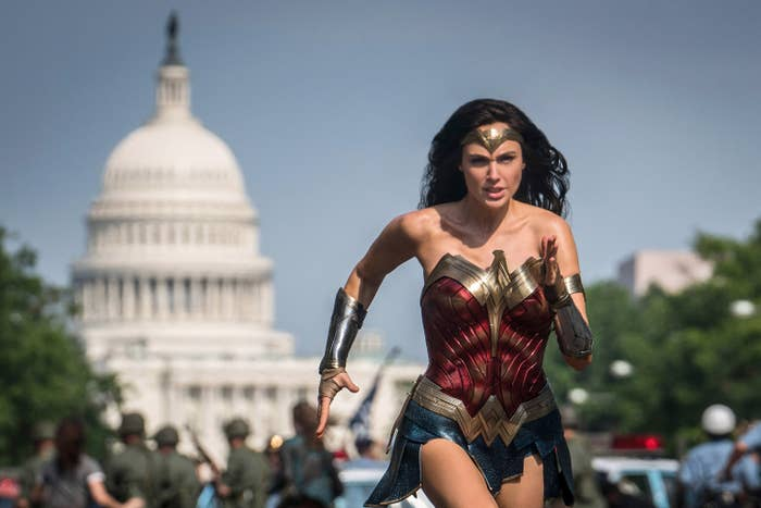 Gal Gadot as Wonder Woman running in Washington, DC