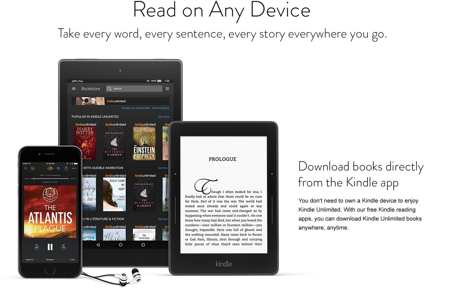 Infographic explaining you can download books to the Kindle app on your phone, tablet, or e-reader
