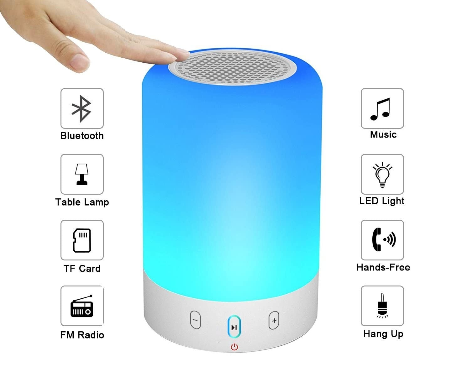 """A hand on the lamp lit up in blue. Graphics say """"Bluetooth, table lamp, tf card, FM radio, music, LED light, hands-free, hang up"""""""