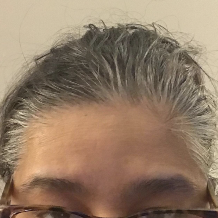 Reviewer before photo of gray hair