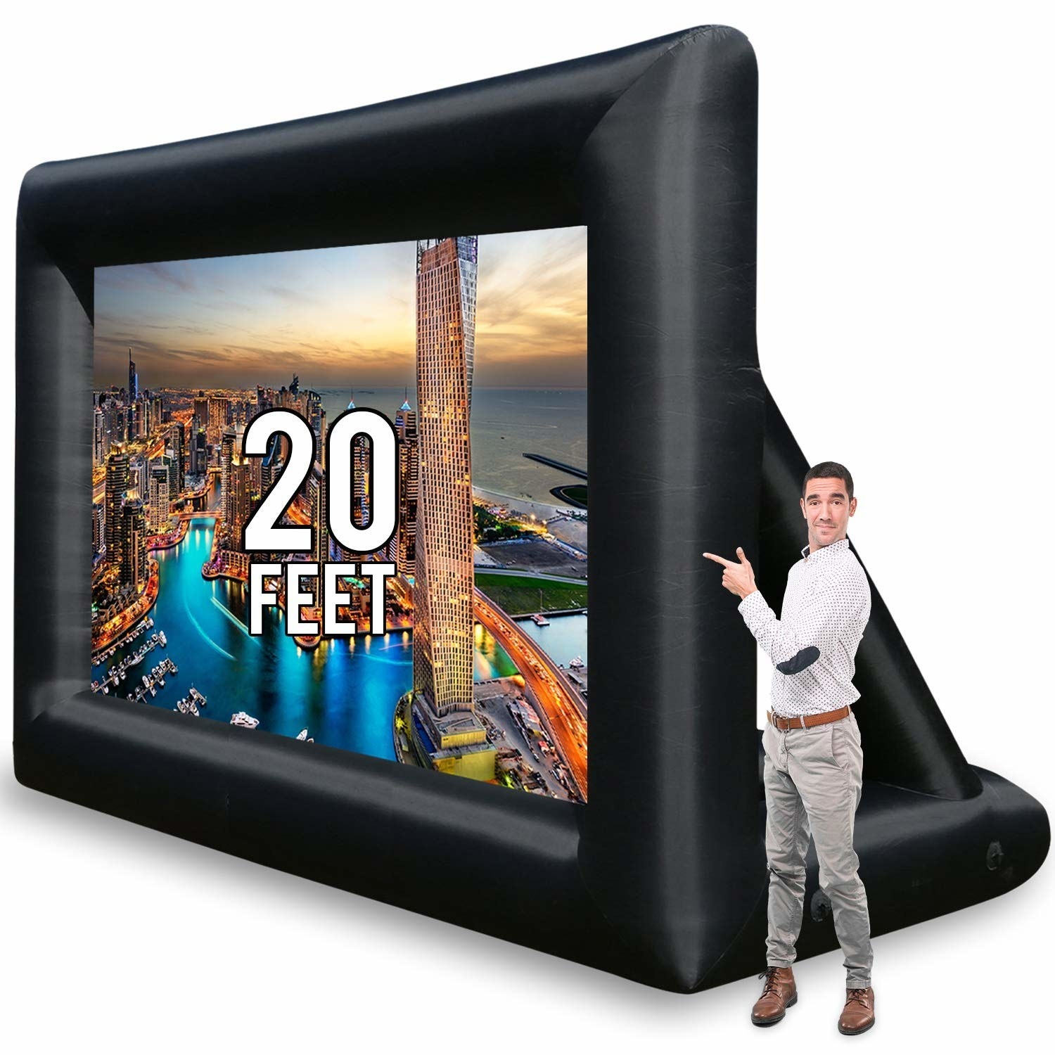 The 20 foot inflatable screen next to a person for scale