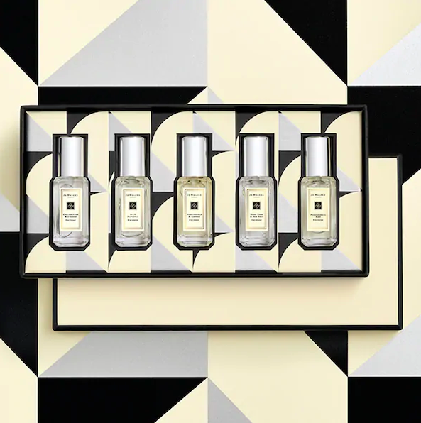 The set of perfumes in their gift box