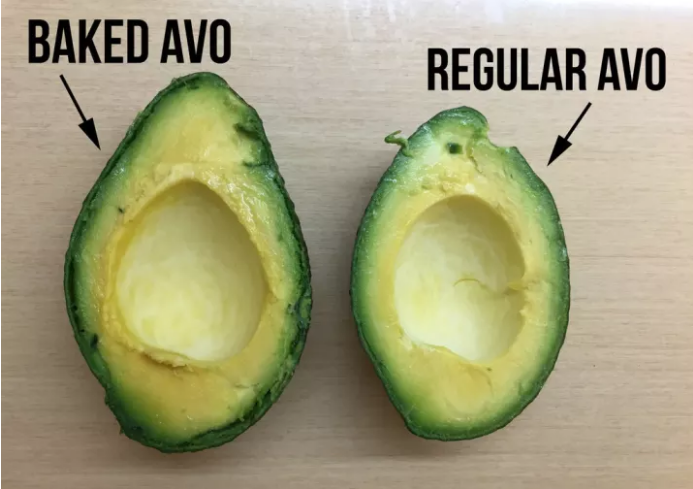 A baked avocado versus a regular avocado