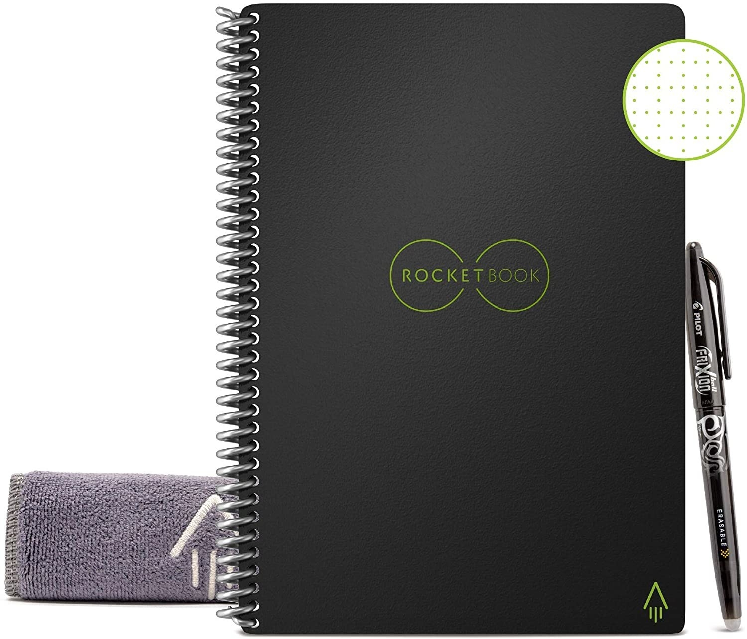 The black spiral notebook with a pen and microfiber cloth