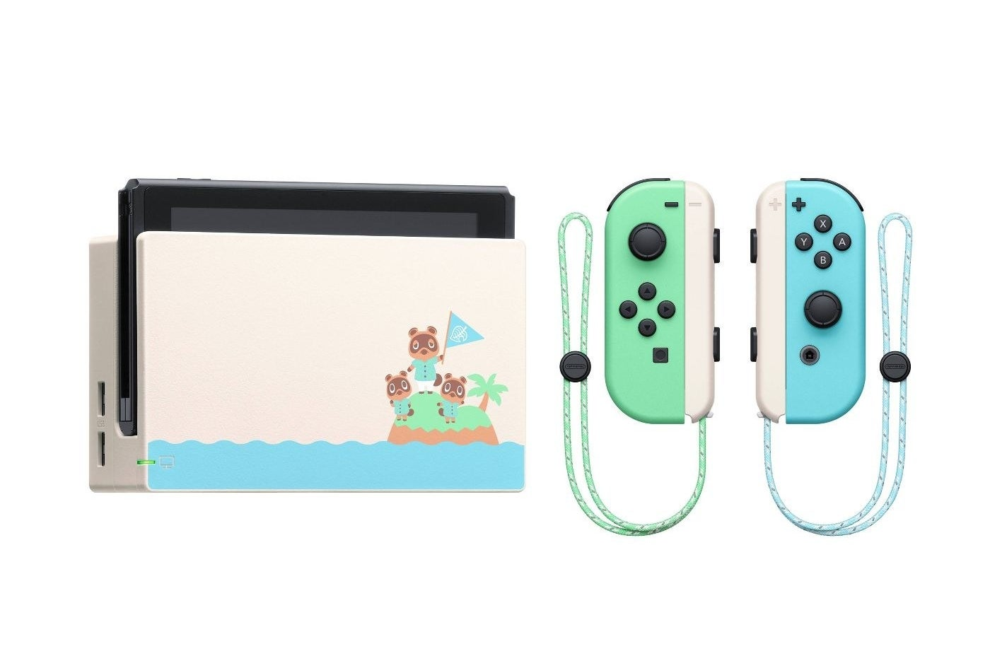 """Nintendo Switch with an """"Animal Crossing"""" design on the dock and two Joy-Cons next to it"""