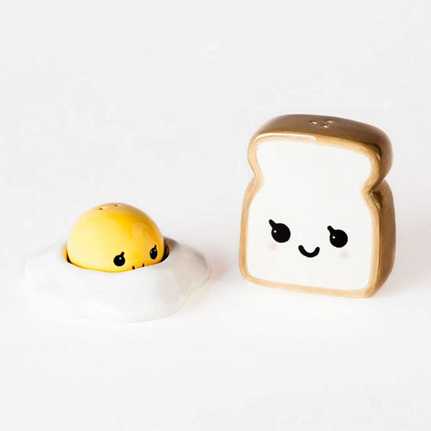 The toast and egg shakers which have eyes and a mouth. The egg is two parts: a yolk which attaches the egg white via a magnet