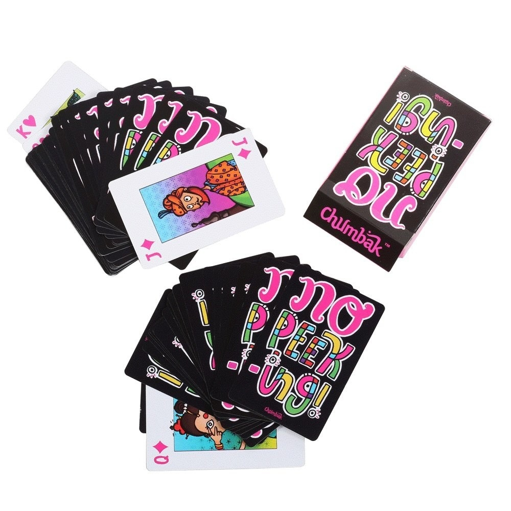 Black playing cards with the text 'No Peeking' in bright colours on the back and with cartoon-like quirky illustrations on the front.