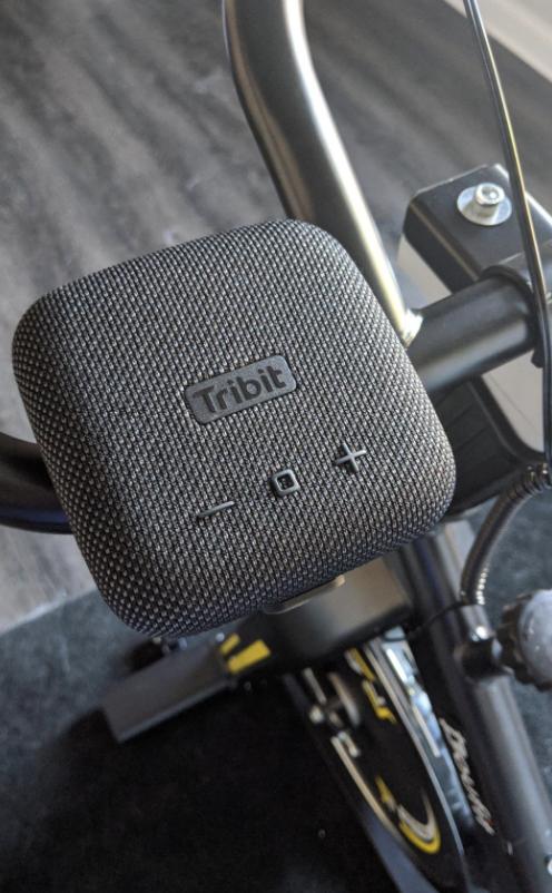 Tribit speaker on bike handle