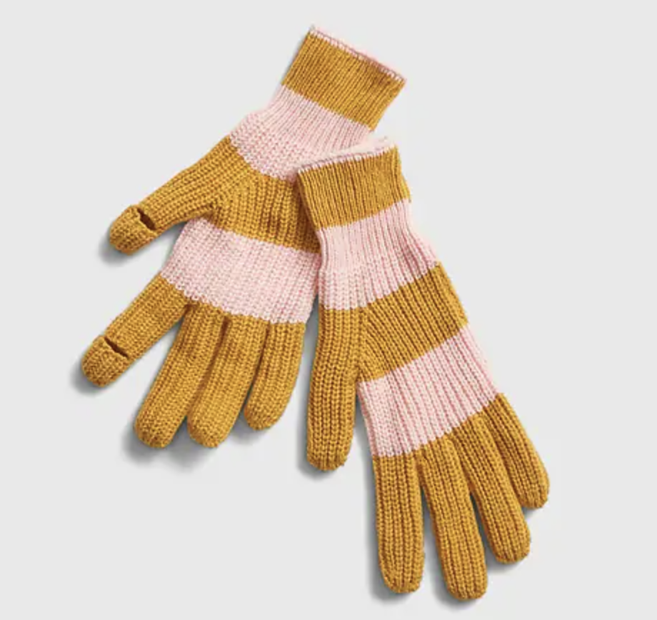 pink and gold strip smartphone gloves