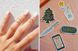 Midi rings and My Favorite Murder stickers