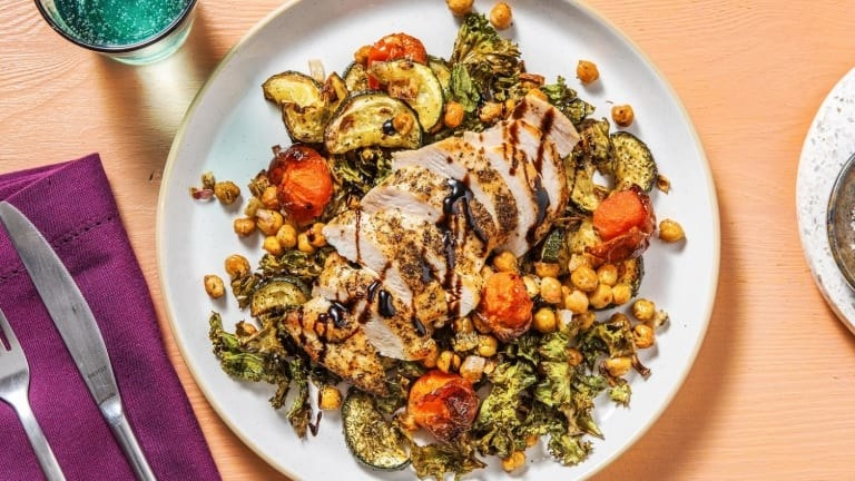 Tuscan sheet pan chicken with chickpeas and veggies