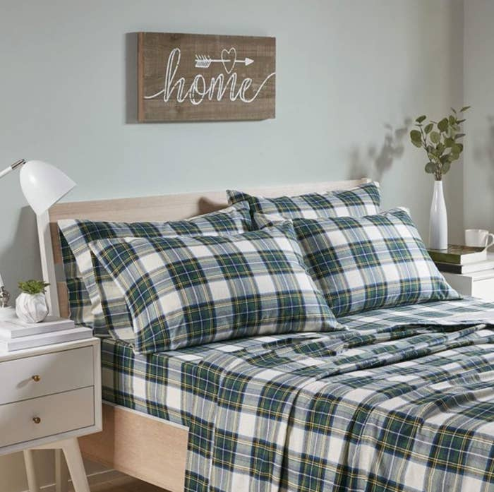The Scottish plaid sheets in green plaid
