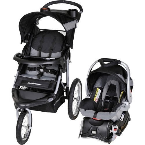 black jogger stroller and car seat from baby trend