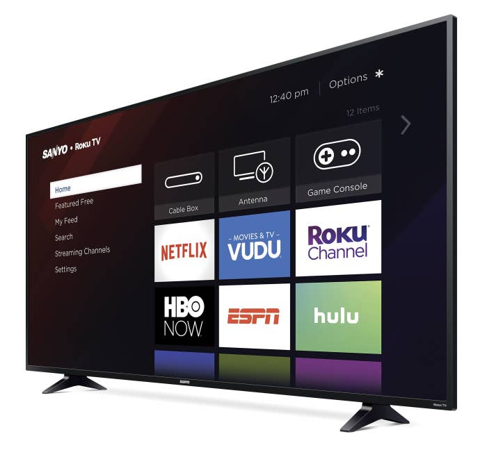 sanyo roku TV showing different streaming apps