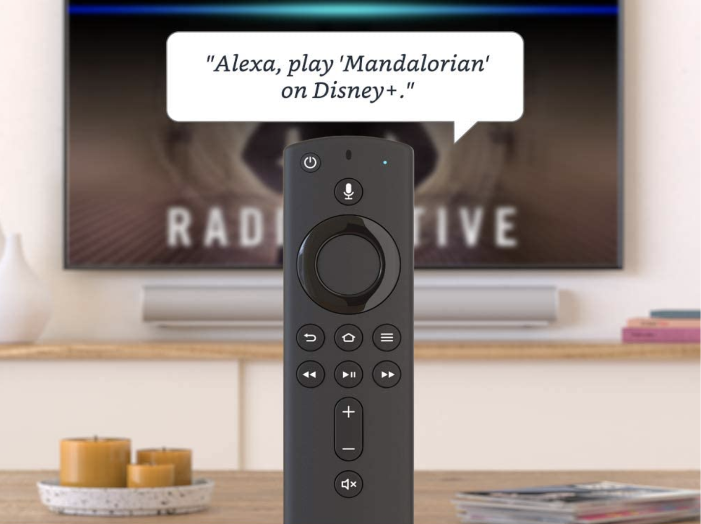 A slim black remote control with small buttons, including one that you can talk into
