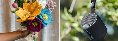 (left) Felt flower bouquet (right) Small black Bluetooth speaker