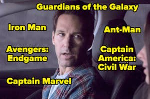 Scott Lang looking confused and surrounded by Marvel movie titles