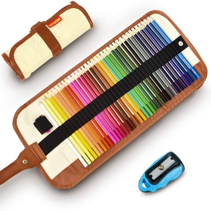 the colored pencil set with sharpener and carrying case