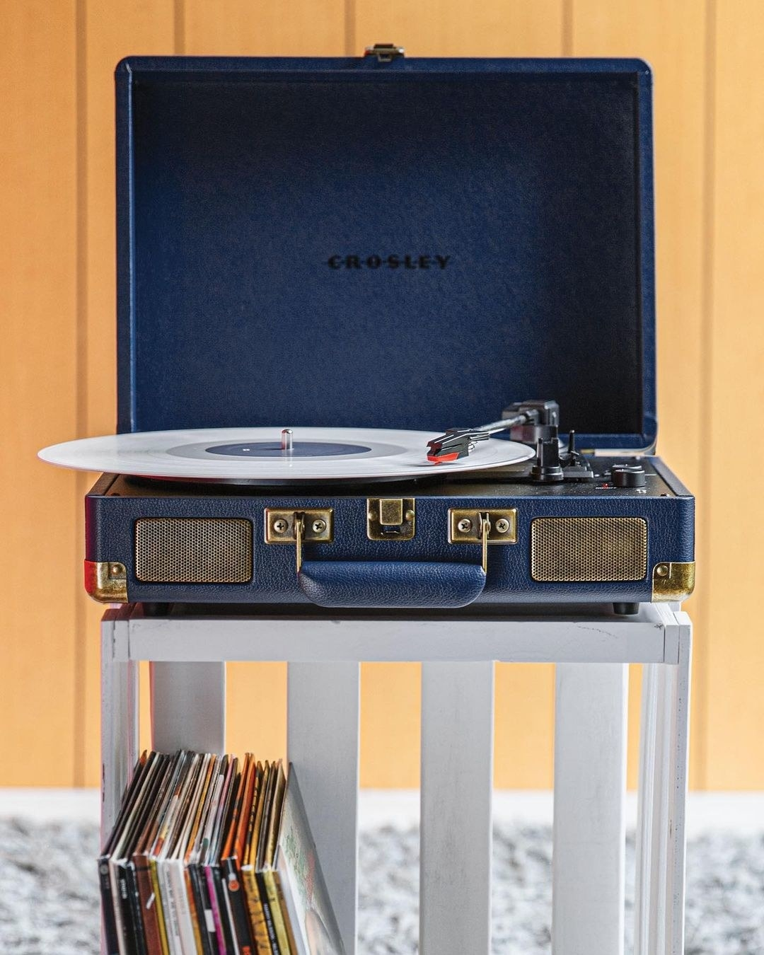 The suitcase-styled vinyl player