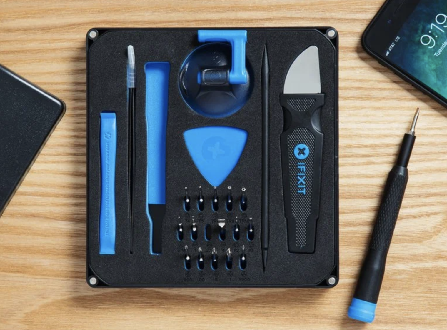 The tool kit with black and blue tinted tools