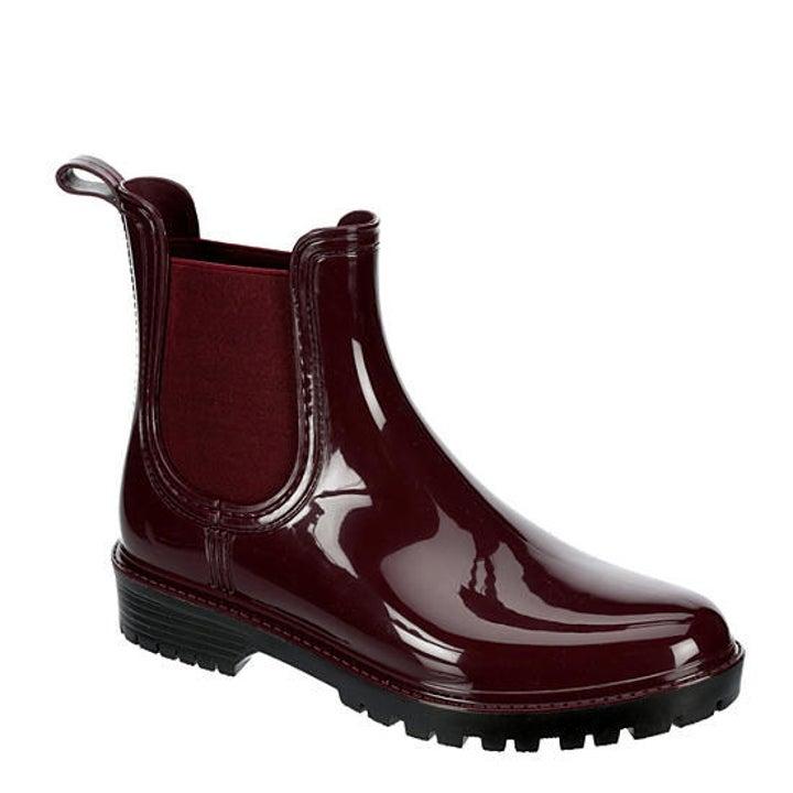 Burgundy Chelsea rain boots