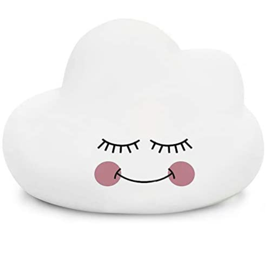 A silicone hand-sized cloud of white color with a design of closed eyes, a smile, and rosy cheeks