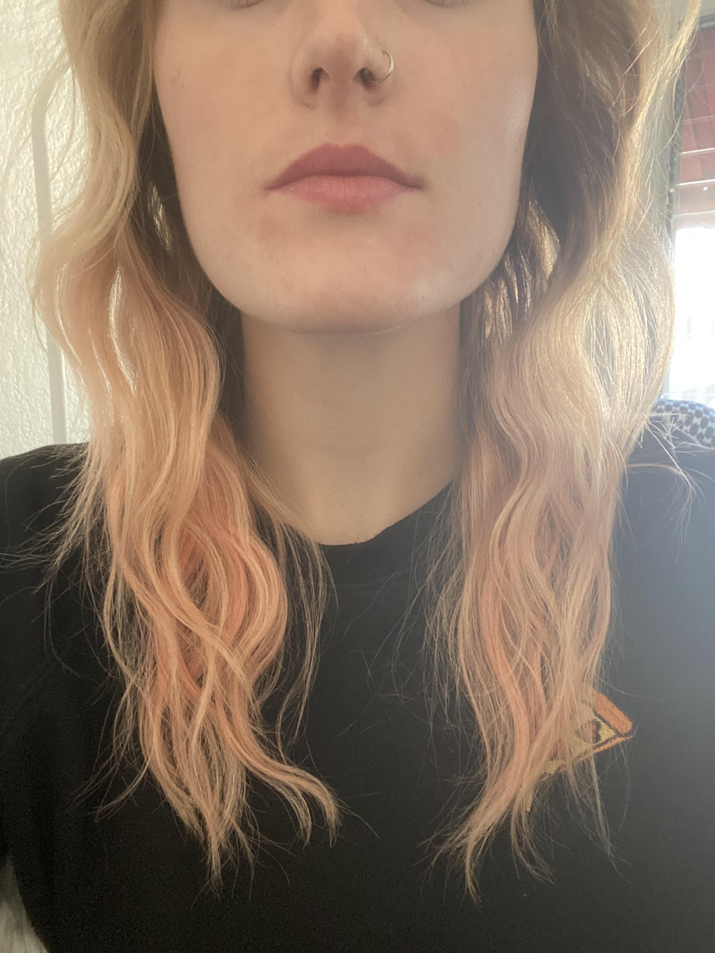 """A close-up of the ends of my hair after being styled by the Mermade Pro, with soft continuous """"S"""" waves that are less dramatic than the Bed Head waver's."""