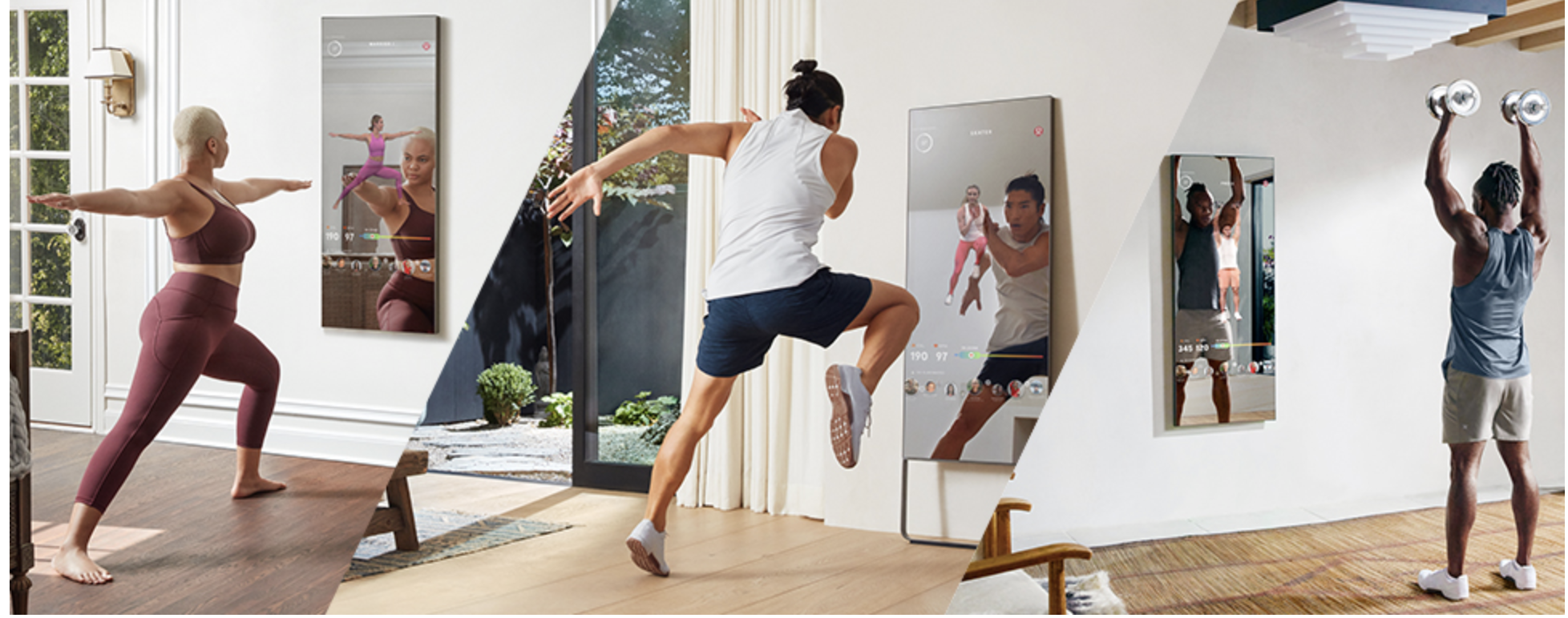 Models doing yoga, cardio, and strength workouts while standing in front of mounted mirrors with digital displays on them