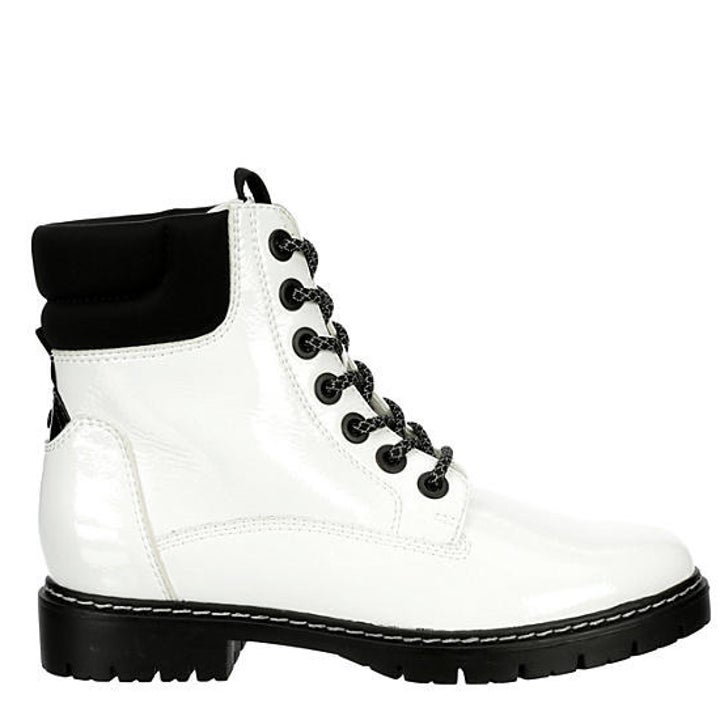 White combat boots with black laces