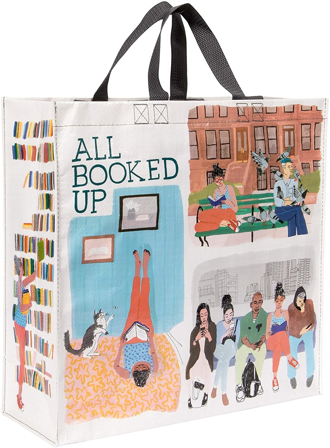 """The bag with several illustrations of people reading in different scenes with text """"all booked up"""""""