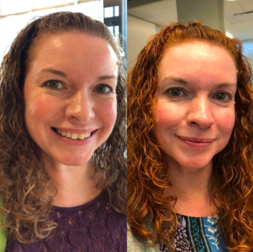 a side by side of a reviewer showing their hair before and after using the powder and in the after their hair is more naturally looking red