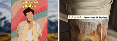 on left a Harry styles air freshener and on right a reviewer photo of coffee in mason jar with text