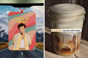 """on left a Harry styles air freshener and on right a reviewer photo of coffee in mason jar with text """"favorite milk frother"""""""