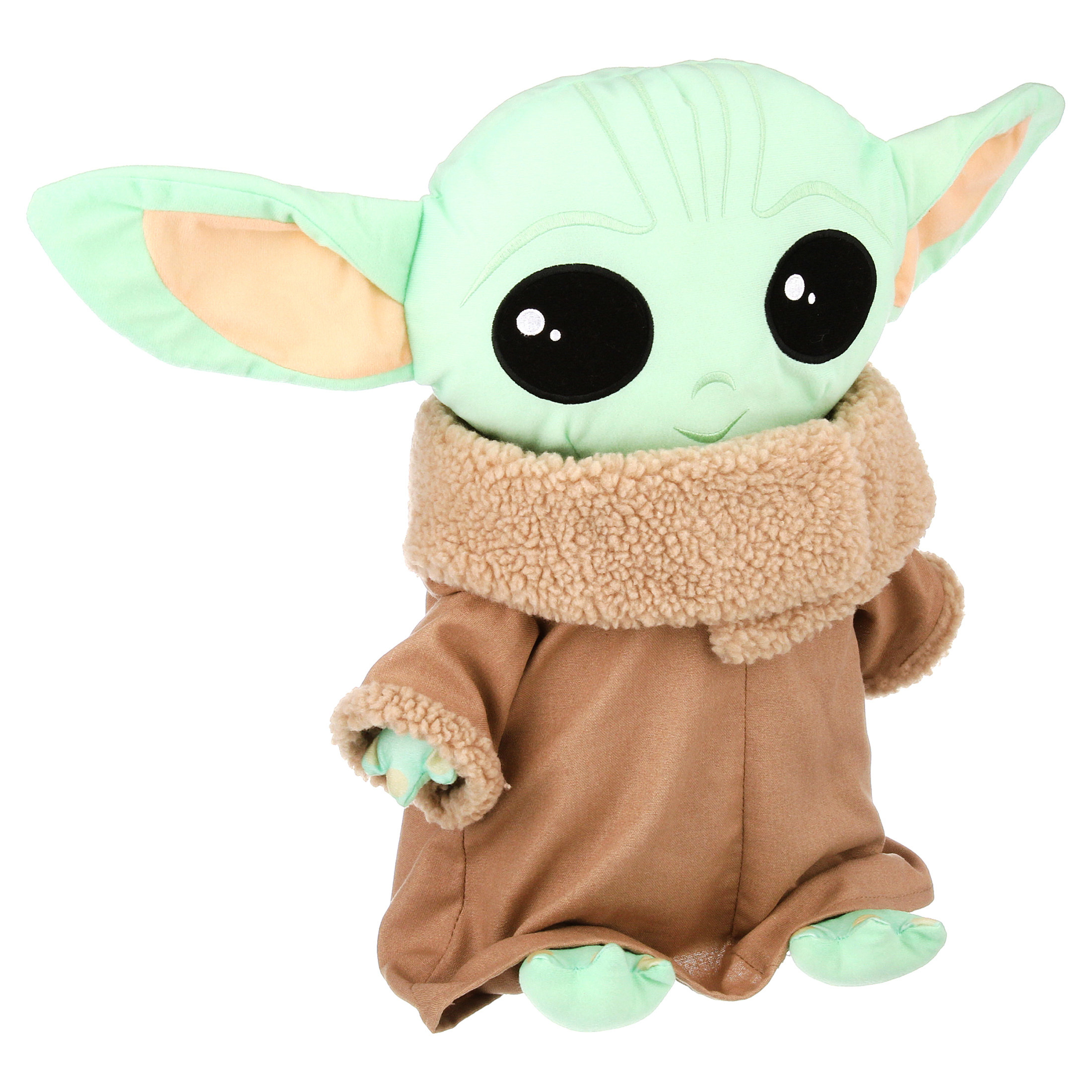 baby yoda pillow buddy with signature outfit on