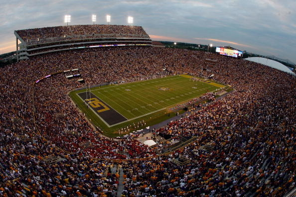 Louisiana State University's football stadium filled with people